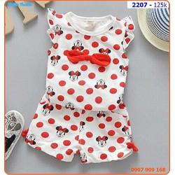 Bộ mặc nhà chấm bi Mickey siêu xinh cho bé ngày hè