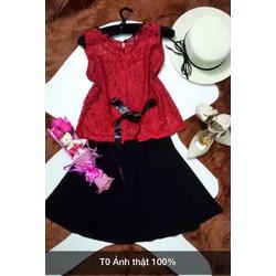 Set áo ren lưng nơ + váy xoè