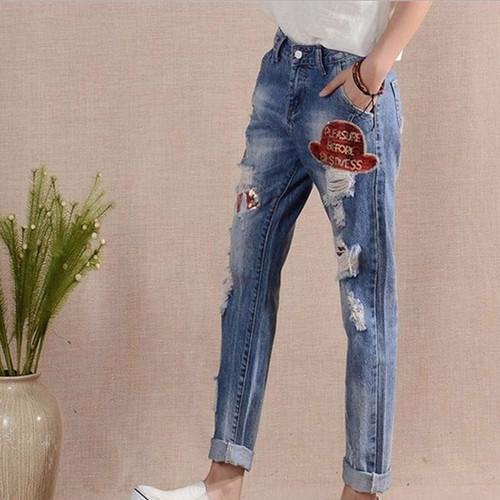 quần jeans nữ rách love Mã: QD1355
