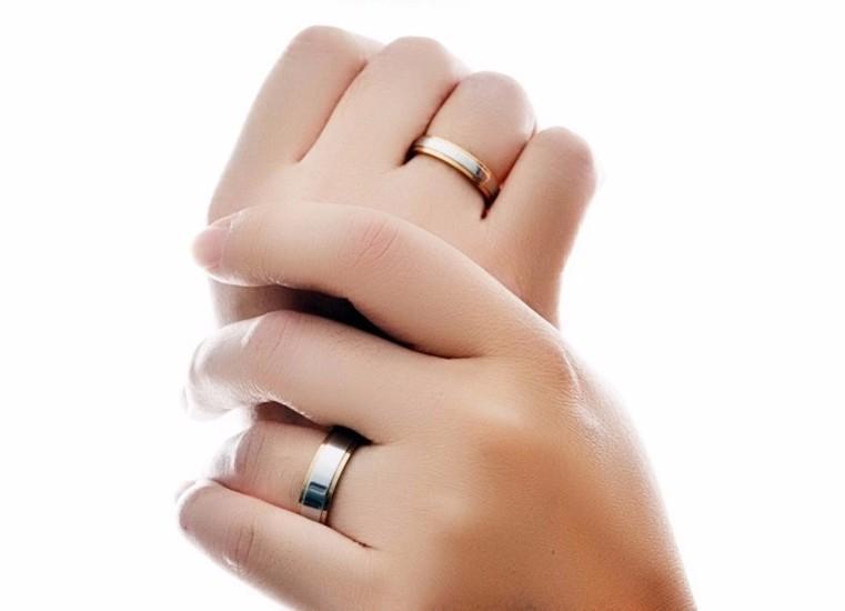 Cặp Nhẫn Titanium Không đen 2 Màu TT 0521 2