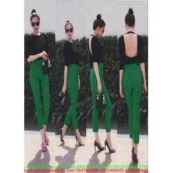 Sét áo thun nữ dài tay hở lưng và quần baggy sành điệu SQV168