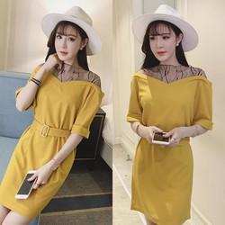 Đầm công sở phối ren lưới thời trang - hàng nhập Quảng Châu