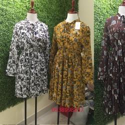 Đầm Voan Hoa Dài Tay váy xếp li Hàng Quảng Châu cao cấp