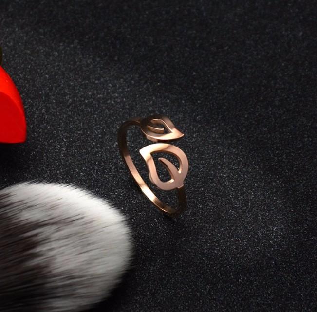 Nhẫn Titanium Không đen Chiếc Lá TT 0523 4