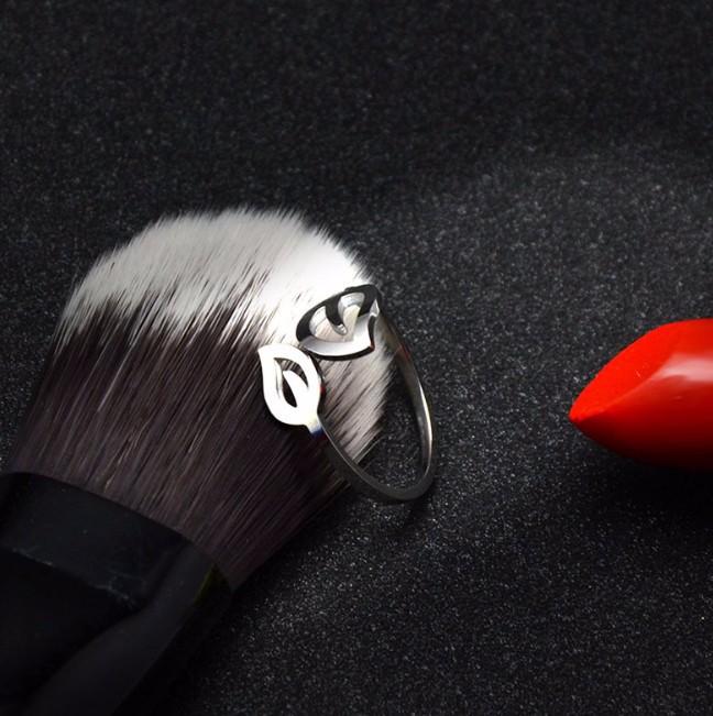 Nhẫn Titanium Không đen Chiếc Lá TT 0523 5
