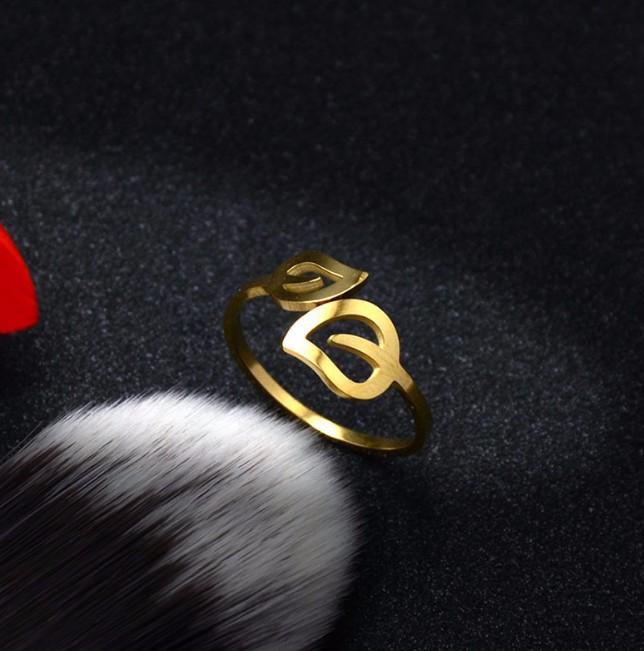 Nhẫn Titanium Không đen Chiếc Lá TT 0523 3