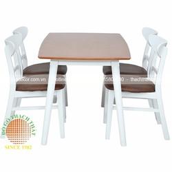 Bàn ăn 4 ghế gỗ cao su giá rẻ