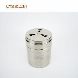 Hũ đựng tiêu chất liệu inox bền, thiết kế nhỏ gọn size 6,5 x 8,5cm.