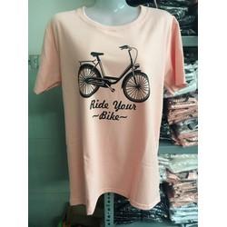 Áo thun nữ có size tay ngắn in xe đạp