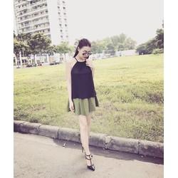 Set áo yêm phối chân váy xòe xếp ly sành điệu LOA04