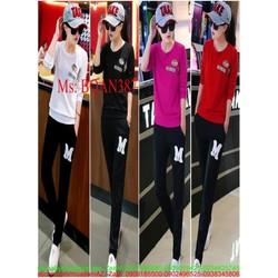 Bộ thể thao nữ áo tay dài phối quần dài M hàng thun co giãn QATT387