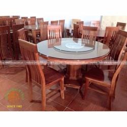 Bộ bàn ghế ăn 6 ghế bàn tròn gỗ xoan đào