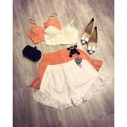 Set áo croptop ren+quần short bèo