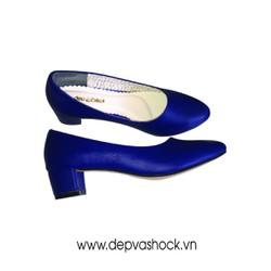giày cao gót da bò màu xanh