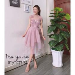 Đầm xòe công chúa đính bông - A29880