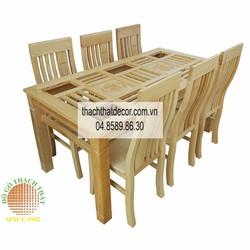 Bộ bàn ghế ăn 6 ghế gỗ sồi Nga hiện đại