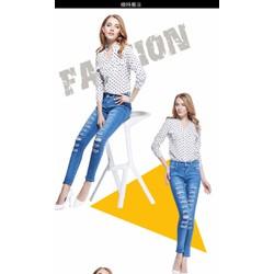 Quần jeans nữ hiện đại, mài rách cá tính, phong cách âu-11355761