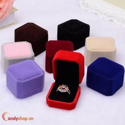 Hộp trang sức vải nhung - 2 hộp đựng nhẫn, bông tai candyshop88.vn