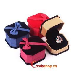 Hộp trang sức vải nhung nơ - 2 hộp đựng nhẫn, bông tai candyshop88.vn