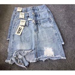 Váy Jean rách cá tính