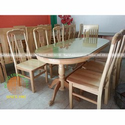 Bàn ghế ăn 6 ghế bầu dục gỗ sồi nga đẹp