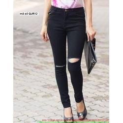 Quần jean nữ lưng cao 1 nút rách 2 bên gối cực cá tính QJR12