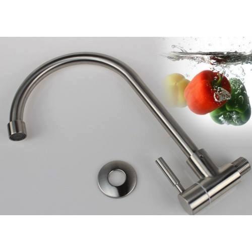 Vòi rửa bát 1 đường lạnh cắm tường, cần cứng INOX 304_HM