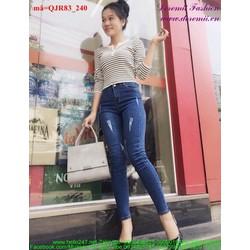 Quần jean nữ lưng cao 1 nút rách nhẹ 2 bên cá tính qQJR83
