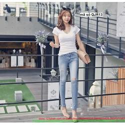Quần jean nữ lưng cao 1 nút rách gối form chuẩn dáng đẹp QJR13