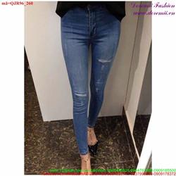 Quần jean lưng cao xước nhẹ hai bên bụi sành điệu hhQJR96