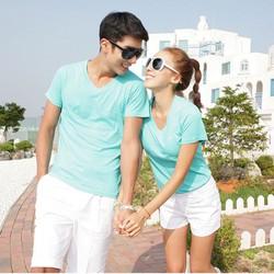 Áo thun cặp đôi trơn cổ tim xanh