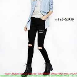 Quần jean nữ lưng cao 1 nút rách 2 bên phong cách sành điệu QJR19