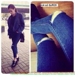 Quần jean nữ lưng cao 1 nút rách 2 bên gối form chuẩn đẹp QJR28