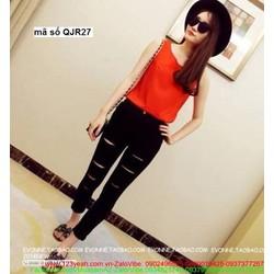 Quần jean nữ hotgirl lưng cao 1 nút rách 2 bên form chuẩn đẹp QJR27
