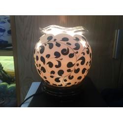 Đèn xông tinh dầu đế gỗ khay thuỷ tinh