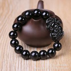 Vòng tay phong thuỷ Tỳ Hưu đen giả đá Obsidian