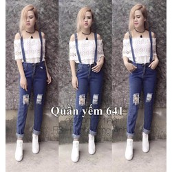 quần yếm jean rách - OD150