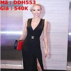 Đầm dạ hội đen xẻ cổ V và tà sành điệu sang trọng DDH553