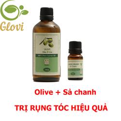 Combo tinh dầu Olive và tinh dầu sả chanh an organic trị rụng tóc