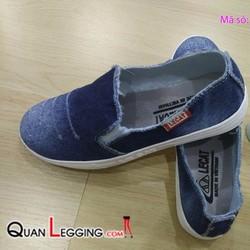 Giày lười nữ, giày slip on vải jeans đẹp thời trang - GD06