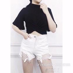 quần short jean rách phối lưới