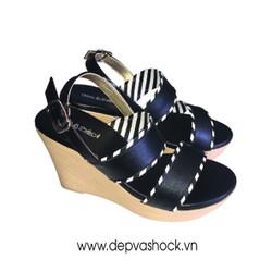 giày sandal đế xuồng màu đen
