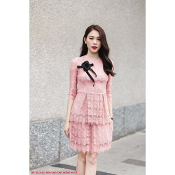 HÀNG THIẾT KẾ-Đầm Ren 2 Tầng Tay Lở Đính Hoa Hồng