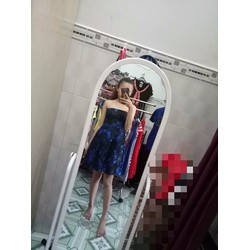 Đầm xòe cúp ngực hoa xanh D076
