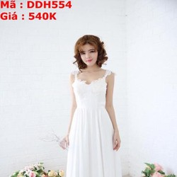 Đầm dạ hội 2 dây ren trắng sang trọng tôn dáng đẹp DDH554