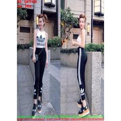 Bộ thể thao nữ áo ba lỗ và quần dài phối màu sành điệu QATT436