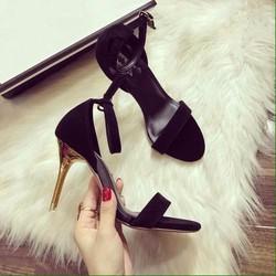 Giày sandal cao gót nữ ánh vàng 1 quai ngang - LN1167
