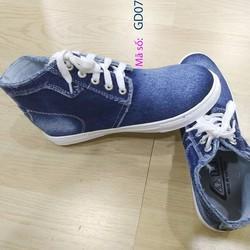 Giày boot nữ cổ thấp vải jean , giày Bata Boot nữ - GD07