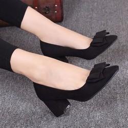 Giày gót vuông phối nơ - LN1168
