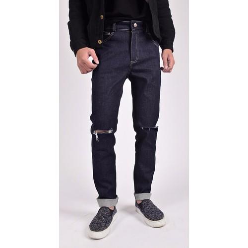 Quần jeans nam ống côn rách gối TNCC QJ042